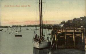 Peaks-Island-ME-Dock-Boat-Shore-c1910-Postcard