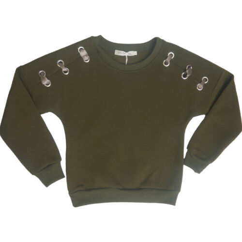 Girls Army Green Thick Jumper With Ribbon Design Elasticated Cuffed Sweater