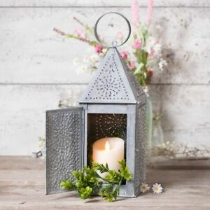 Primitive-new-Square-punched-tin-Candle-Lantern-in-weathered-zinc