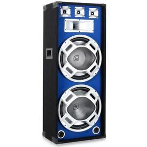 TOP-ENCEINTE-SONO-3-VOIES-DJ-PA-SKYTEC-HAUT-PARLEUR-DISCO-2X-38CM-LED-BLEU-1000W