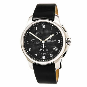 Victorinox-Swiss-Army-Men-039-s-Watch-Officer-039-s-Black-Dial-Leather-Strap-241552