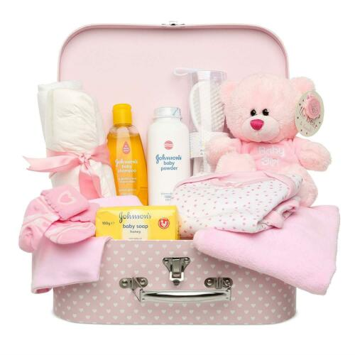 Newborn Teddy Bear Baby Shower Girl Gift Set Keepsake Box In Pink With Clothes