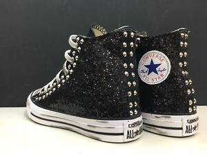 2converse all star alte glitter nero borchie