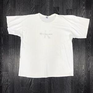 Vintage-Calvin-Klein-Jeans-Herren-T-Shirt-Retro-Sommer-CK-XL-weiss