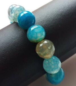 "10 Mm Naturel Coloré Dragon Veins Agate Gemstone Beads Stretch Bracelet 7.5/"""