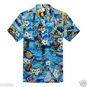 Men-Aloha-Shirt-Cruise-Tropical-Luau-Beach-Hawaiian-Party-Blue-Ukulele-Paradise