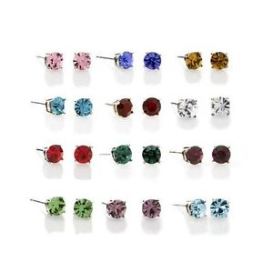 Image Is Loading Sterling Silver Round Crystal Birthstone Studs Earrings