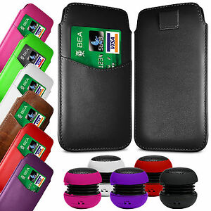 CARD-SLOT-PU-LEATHER-PULL-FLIP-TAB-CASE-COVER-amp-SPEAKER-PEN-FOR-HTC-PHONES