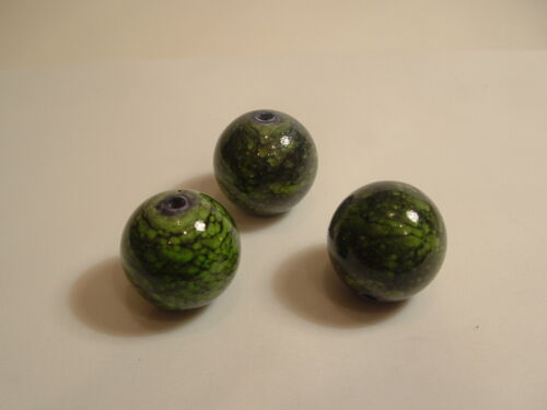 Speckle vert Bna18 25 x 12mm acrylique perles rondes