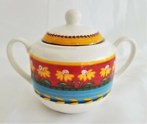Yellow-Flowers-By-VISTA-ALEGRE-Portugal-SUGAR-BOWL-AND-LID
