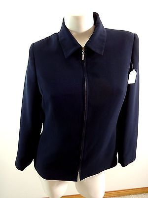 Clothing, Shoes, Accessories Reasonable Worthington Womens Dark Navy 100% Polyester Zipper Front Blazer Jacket Size 8p