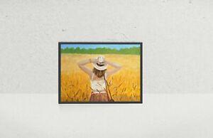 Wheat-Hill-Art-Acrylic-Painting-Canvas-gift-present-birthday-original-wall-Sun