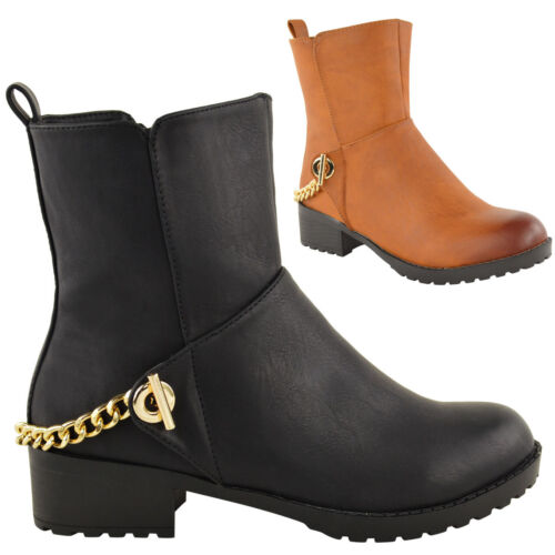 WOMENS LADIES LOW MID HEEL FLAT CHELSEA RIDING ANKLE BOOTS BIKER PULL ON SHOES