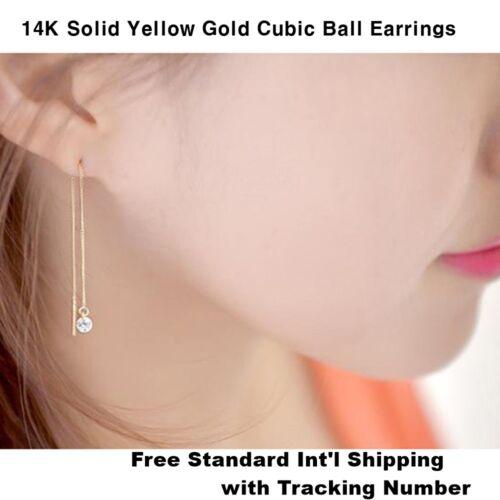 DPT 14K Solide Or Jaune avec cubes Balle Enfileur Long Drop Dangle Paire Boucles d/'oreilles