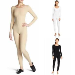 Womens-Long-Sleeve-Unitard-Bodysuit-Full-Body-Jumpsuit-Scoop-Neck-Dance-Costumes
