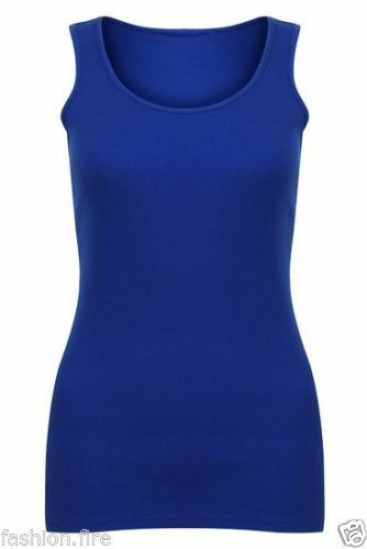 Womens Ladies Plus Size Stretchy Ribbed Vest Top Summer Strap T Shirt Top 16-24