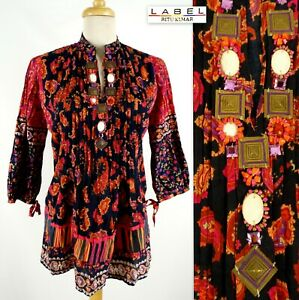 LABEL-RITU-KUMAR-Tunic-Top-SZ-3-Large-Abstract-Multicolor-Beads-V-Neck-India
