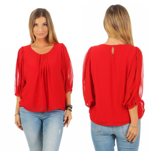 34-38 NEU Ashley Brooke Heine Chiffon Bluse Shirt Top Chiffonbluse Damen Rot Gr