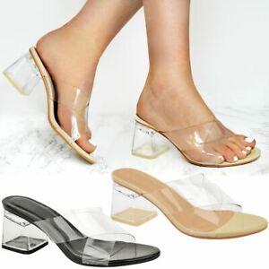 Womens Ladies Low Block Heel Clear