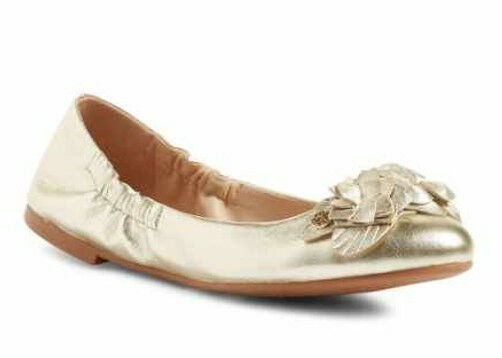 e200647b246 NIB TORY BURCH Blossom Floral Spark Gold Leather Logo Ballet Flat Shoes  Size 6.5