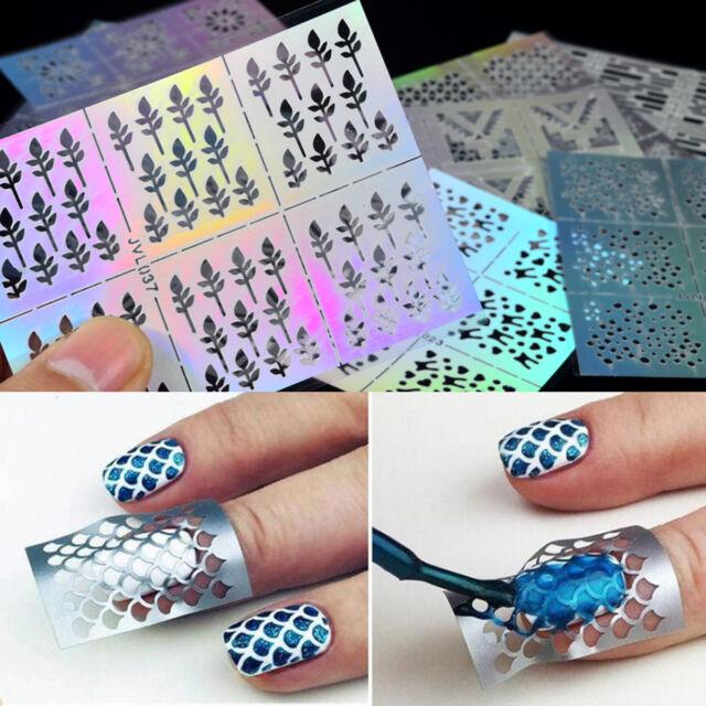 24 Sheets Nail Art Tattoos 3d Hollow Nail Stencil Stickers DIY ...