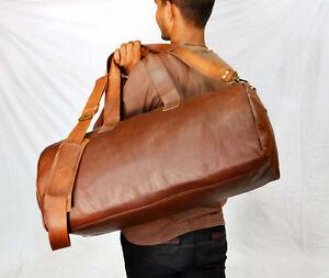 "Men/'s genuine Leather luggage gym weekend overnight 24/"" Duffle bag large vintage"