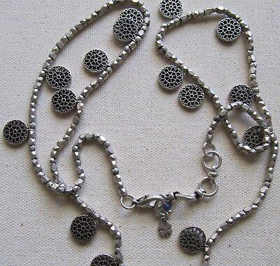 "Steampunk Pendant Necklace Tassel Fringe Antiqued Silver Tone 30/"""