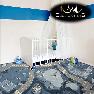 Anti-slip Children's Carpet Street Blue Kids Play Area Bedroom Rug Any Size Meticulosos Procesos De TeñIdo
