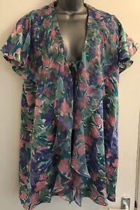 Lingerie Satin Green Victoria's Cover Pastel Medium Secret Robe up Floral qRwnI8Sw
