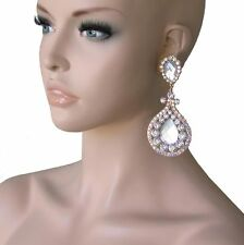 "4"" Long, Clear & AB Rhinestones, Clip On earrings, Pageant, Drag Queen, Bridal"