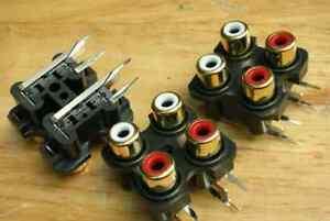 2-QUAD-2-Channel-Gold-RCA-Chassis-Socket-Connector-QG-q