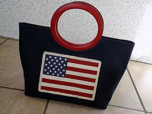 Flag Zip American Amanda PocketSnap Close Smith BagInside Canvas Hand Euc GqUVpSzM
