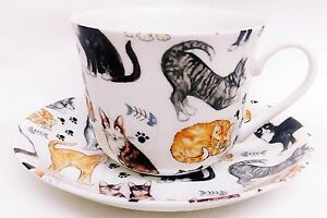 Les-chats-Collage-Grande-Tasse-amp-Soucoupe-Porcelaine-Chats-Petit-Dejeuner-Set-Main-Decore-UK