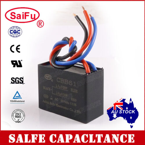 SaiFu CBB61 1.5uF+2.5uF 3 Wires AC 250V 50//60Hz Capacitor for Ceiling Fan OZ