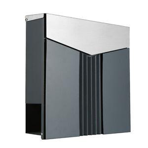 briefkasten edelstahl 222ade deckel aus edelstahl anthrazit zeitungsfach ebay. Black Bedroom Furniture Sets. Home Design Ideas