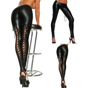 614a7430524a Women s Ladies Wet Look Leggings Lace Up Black Leather Skinny Fit ...