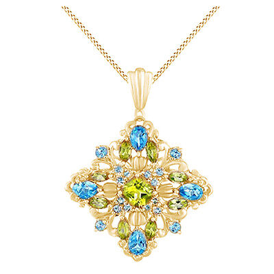1//4 Ct Peridot Double Dolphin Pendant Necklace 14K Yellow Gold Over Sterling 18/""