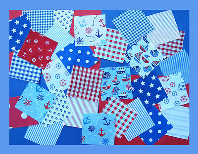 25 or 50 Blue and Red Nursery fabric patchwork squares 4 x 4 ins Baby Boy