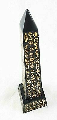 Black Egyptian Obelisk Gold Hieroglyphs Collectible Figurine