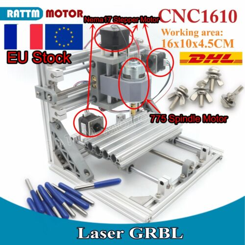 【FR free】3 Axis 1610 Desktop Mini DIY CNC Router Engraving Milling Laser Machine