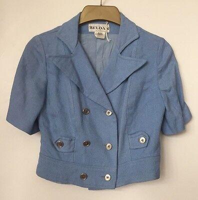 * Riduzione * 1970s Mini Corto Doppio Petto Giacca Blu Taglia 10 Vintage-mostra Il Titolo Originale Senza Ritorno