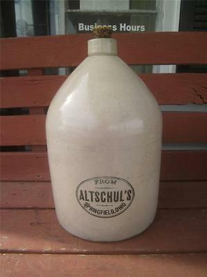 ALTSCHUL'S DISTILLERY SPRINGFIELD OHIO 1890'S ADVERTISING CROCK JUG WHISKEY