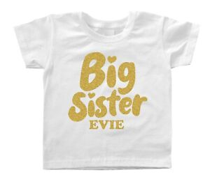CHILDRENS PERSONALISED T SHIRT* ANY AGE* PROMOTED TO BIG SISTER
