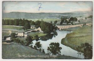 Yorkshire-North-postcard-The-Wharfe-below-Grassington-Bridge-P-U-A681