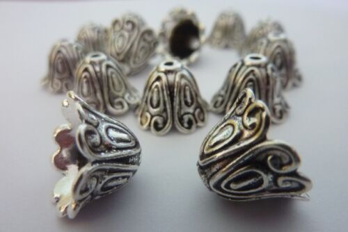 14 pce Antique Silver Bell Flower Bead Caps 15mm x 11mm Jewellery Making Craft