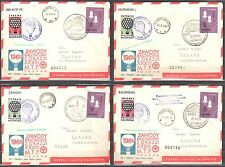 Poland 1964 - set of 4 Balloons Post Covers