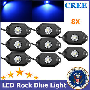 8pcs 9W LED Rock Light Blue Under Trail Boat ATV SUV Jeep Wrangler YJ Ford Cree