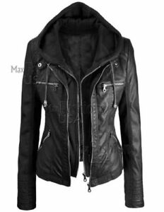 Nuova nera in da giacca il pelle vera donna con Staccare cappuccio cappuccio TxqrTUfwZn
