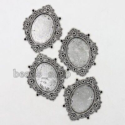 5x Retro Vintage Silver Tone Flower Alloy Oval Pendants Base Jewelry Makings BS
