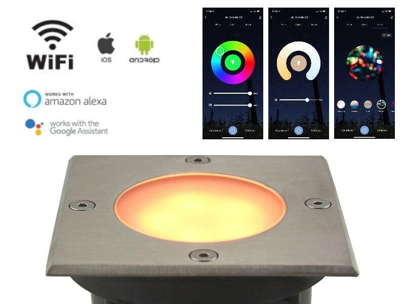5W RGB+CCT LED Bodeneinbaustrahler WiFi Smart WLan Alexa, Google IP65 eckig 230V